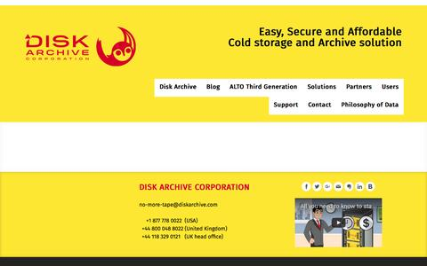 Screenshot of About Page diskarchive.com - About - ALTO - Easy, Secure and Affordable Cold storage and Archive - captured Nov. 24, 2016
