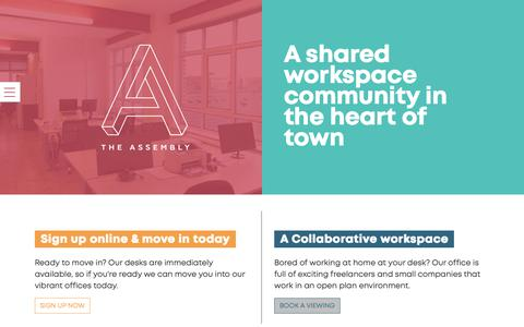 Screenshot of Home Page assemblymcr.com - Co-Working Shared Office Space - The Assembly, Manchester City Centre - captured Nov. 15, 2018