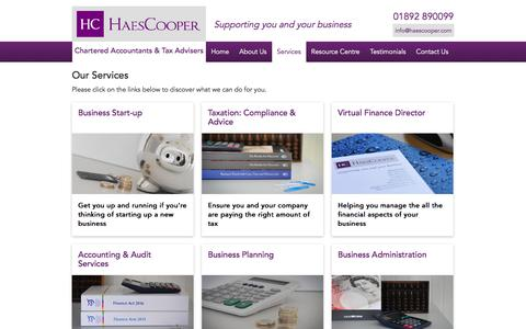 Screenshot of Services Page haescooper.com - Our Services | HaesCooper Chartered Accountants in Kent and East Sussex - captured July 12, 2017