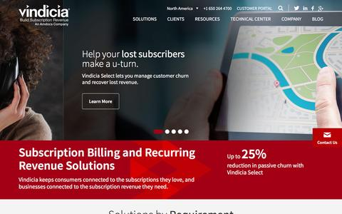 Screenshot of Home Page vindicia.com - Subscription Billing and Recurring Payment Solutions | Vindicia - captured May 8, 2017