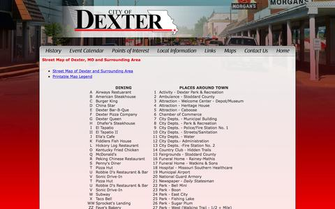 Screenshot of Maps & Directions Page visitdexter.com - Visit Dexter MO - captured March 13, 2016