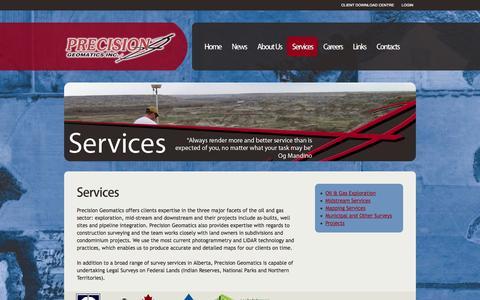 Screenshot of Services Page precisiongeo.ca - Services  |  Precision Geomatics Inc. - captured Oct. 1, 2014