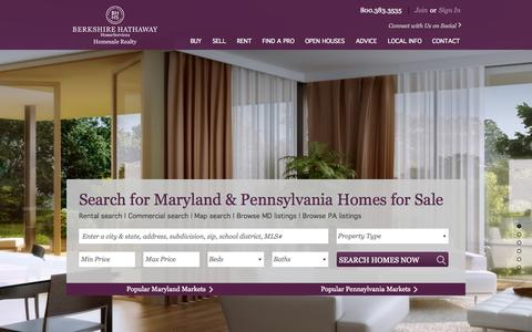 Screenshot of Home Page homesale.com - MD and PA Real Estate.  Homes for sale in York PA, Lancaster, PA, Baltimore MD. | Berkshire Hathaway Homesale Realty - captured June 18, 2015