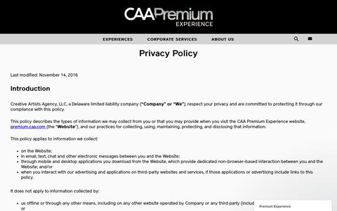 Screenshot of Privacy Page caa.com - CAA Premium Experience - captured May 1, 2017