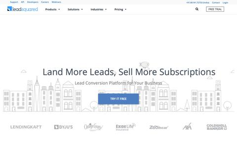 Screenshot of Home Page leadsquared.com - Marketing Automation and CRM Software | LeadSquared - captured June 13, 2019