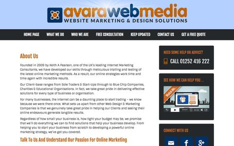 Screenshot of About Page avara.co.uk - About Us - Avara Web Media - captured Oct. 4, 2014