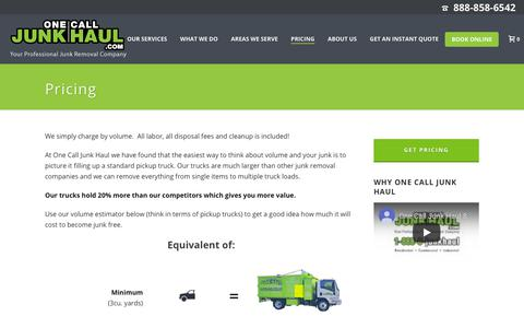 Screenshot of Pricing Page onecalljunkhaul.com - Our Junk Removal Service Pricing Salem, MA | One Call Junk Haul - captured Aug. 18, 2019