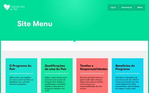 Screenshot of Menu Page culturalcare.com.br - Site Menu | Cultural Care - captured Jan. 31, 2018