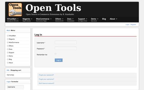 Screenshot of Login Page open-tools.net - The Open Tools Company - The Open Tools Company - captured June 22, 2017