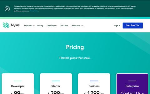 Screenshot of Pricing Page nylas.com - Nylas Email API Pricing | Nylas API - pricing that scales with your business - captured Feb. 10, 2019