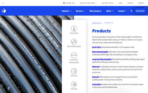 Screenshot of Products Page eunetworks.com - Products • euNetworks - captured Dec. 8, 2018