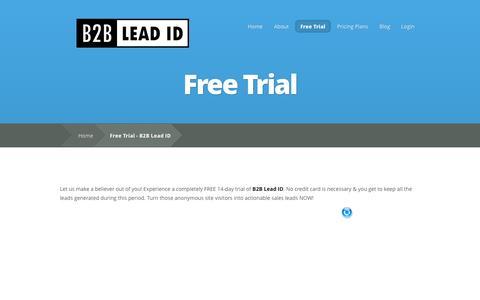 Screenshot of Trial Page b2bleadid.com - Free Trial - B2B Lead ID   B2B Lead ID - captured Sept. 30, 2014