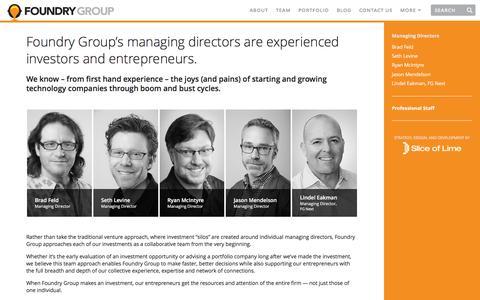 Screenshot of Team Page foundrygroup.com - Team | Foundry Group - captured Feb. 12, 2016