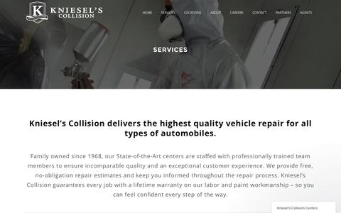 Screenshot of Services Page kniesels.com - Kniesel's Collision |   Services - captured Nov. 27, 2016