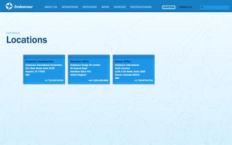Screenshot of Locations Page endeavourcorp.com - Locations - Endeavour - captured Nov. 2, 2014