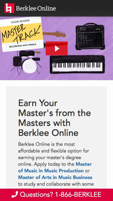 Earn Your Master's from the Masters Online with Berklee Online