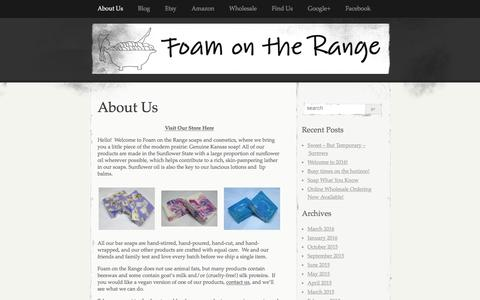 Screenshot of Home Page foamontherange.net - Foam on the Range   A little piece of the modern prairie – handmade soaps, lotions and more! - captured Aug. 4, 2016