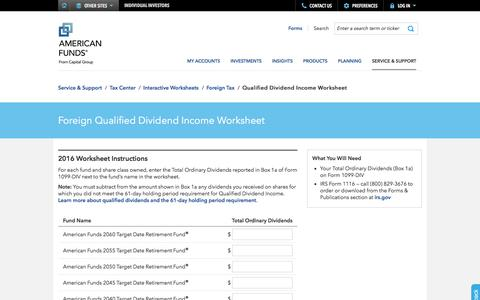 Foreign Qualified Dividend Income Worksheet