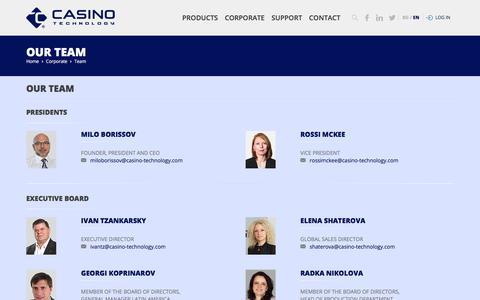 Screenshot of Team Page casino-technology.com - Casino Technology Team - captured May 29, 2018