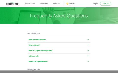 Screenshot of FAQ Page coinme.com - FAQ | Bitcoin ATM for Cryptocurrency Digital Assets - captured July 12, 2019