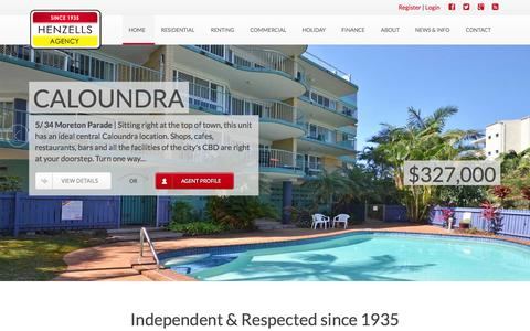 Screenshot of Home Page henzells.com.au - Henzells Agency - Caloundra - captured Jan. 23, 2015