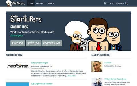 Screenshot of Home Page startupers.com - Startup Jobs | StartUpers - captured Dec. 30, 2015
