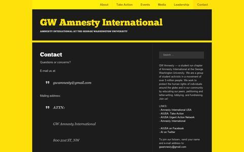 Screenshot of Contact Page wordpress.com - Contact | GW Amnesty International - captured Sept. 12, 2014