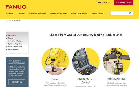 Screenshot of Products Page fanucamerica.com - FANUC Products - Robot, CNC and ROBOMACHINE   FANUC America - captured Nov. 18, 2017