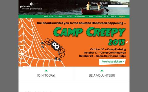 Screenshot of Home Page gswpa.org - Girl Scouts Western Pennsylvania - captured Sept. 19, 2015