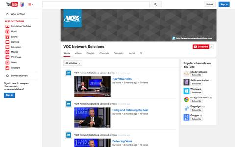 Screenshot of YouTube Page youtube.com - VOX Network Solutions  - YouTube - captured Nov. 5, 2014