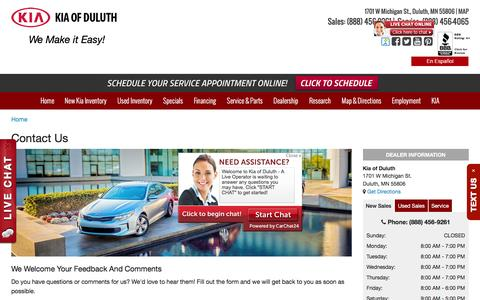 Screenshot of Contact Page kiaofduluth.com - Contact Us | Duluth, MN Serving Grand Rapids, Hibbing, and Virginia, MN, and Superior, WI - captured Aug. 9, 2016