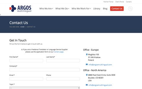 Screenshot of Contact Page argosmultilingual.com - Contact Us - Argos Multilingual - captured Feb. 16, 2020