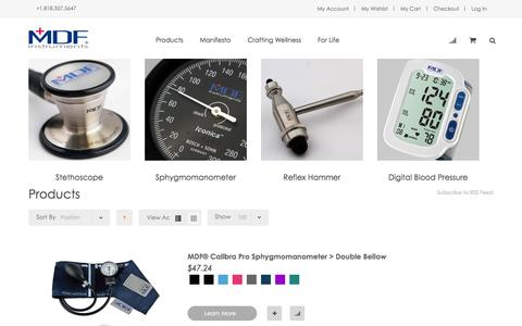 Screenshot of Products Page mdfinstruments.com - Stethoscope, Sphygmomanometer, Reflex Hammer, Digital Blood Pressure Monitor, Digital Thermometer Collection & More | MDF Instruments - captured Oct. 27, 2014