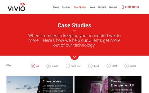Screenshot of Case Studies Page vivio.co.uk - Vivio - Case Studies - captured Nov. 9, 2017