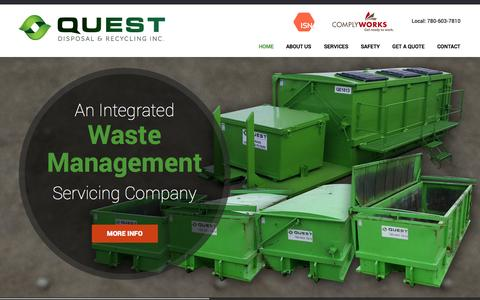Screenshot of Home Page questdisposal.ca - Trusted Waste Management Edmonton - Quest Disposal & Recycling Inc. - captured Oct. 3, 2014