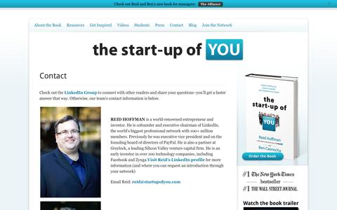 Screenshot of Contact Page thestartupofyou.com - The Start-Up of You - Contact - captured Sept. 23, 2014