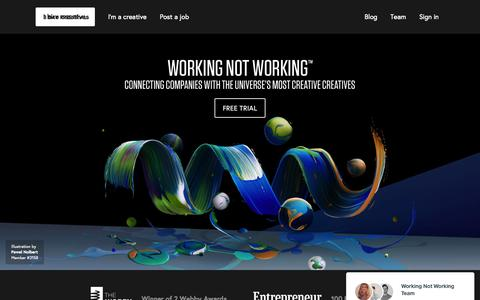 Screenshot of Home Page workingnotworking.com - Working Not Working - Hire the top freelance creatives - captured Oct. 23, 2015