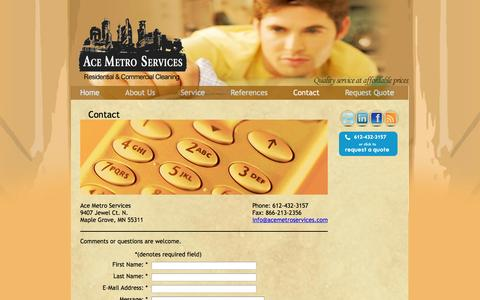 Screenshot of Contact Page acemetroservices.com - Contact «  Ace Metro Services - captured Sept. 22, 2014