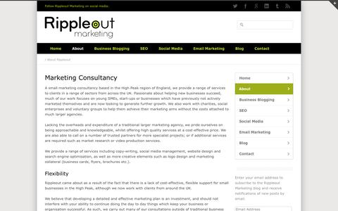 Screenshot of About Page rippleoutmarketing.com - Marketing Consultancy - High Peak Rippleout Marketing - captured Oct. 7, 2014