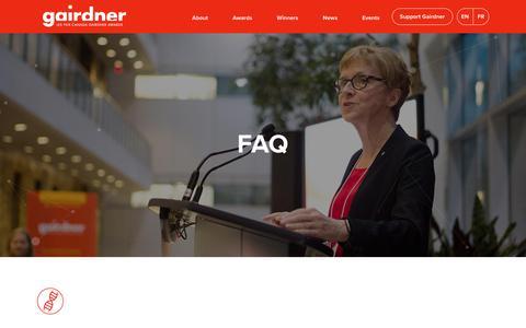 Screenshot of FAQ Page gairdner.org - FAQ - Gairdner Foundation - captured July 15, 2017