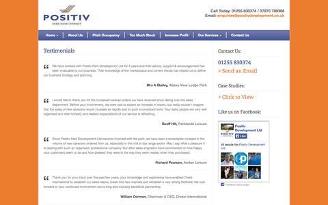 Screenshot of Testimonials Page positivdevelopment.co.uk - positivdevelopment.co.uk   » Testimonials - captured Oct. 27, 2014