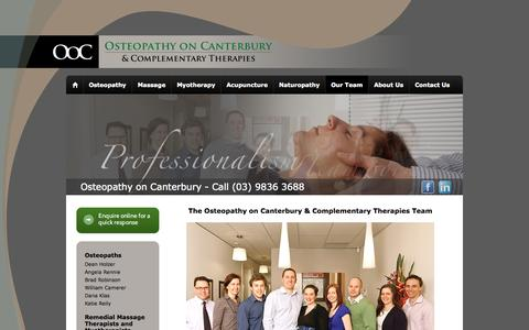 Screenshot of Team Page osteopathyoncanterbury.com.au - The Osteopathy on Canterbury & Complementary Therapies Team | Osteopathy on Canterbury - captured Sept. 30, 2014