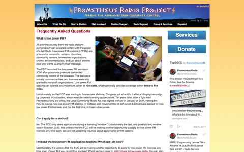 Screenshot of FAQ Page prometheusradio.org - Frequently Asked Questions | Prometheus Radio Project - captured Sept. 10, 2017