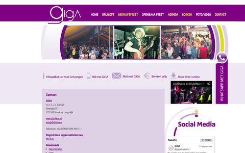 Screenshot of Contact Page gigalive.nl - Contactgegevens Coverband GiGA - de lekkerste coverband van Nederland - captured Oct. 2, 2014