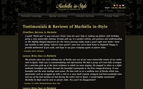 Screenshot of Testimonials Page marbellainstyle.com - Testimonials & Reviews of Marbella in-Style   Marbella in-Style - captured Oct. 27, 2014