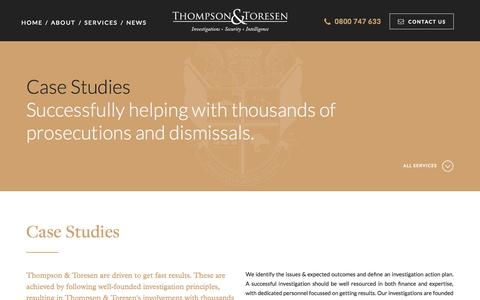 Screenshot of Case Studies Page theinvestigators.co.nz - Private Investigator Case Studies | Thompson & Toresen - captured Oct. 7, 2014