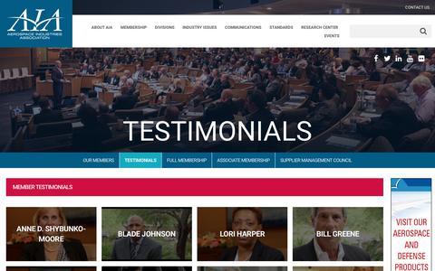 Screenshot of Testimonials Page aia-aerospace.org - Testimonials - Aerospace Industries Association - captured Oct. 3, 2018