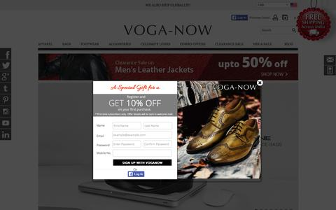 Screenshot of Home Page voganow.com - 100% Genuine Leather Accessories: Buy Leather Jackets, Bags, Belts, Wallets, Footwear For Men & Women In India   Voganow.com - captured Feb. 19, 2016