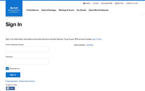 Screenshot of Login Page marriott.com - Sign In - captured Sept. 4, 2018