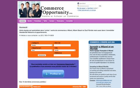Screenshot of Home Page commerce-opportunity.com - Commerce-Opportunity.com : Vendre et Acheter un Commerce - captured Oct. 17, 2015